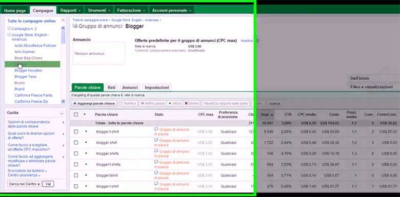 struttura dell'account di Google Adwords