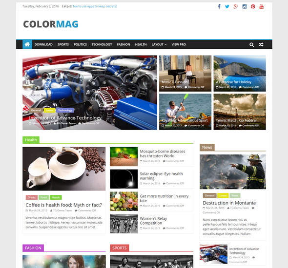 Colormag - Template WordPress gratuito