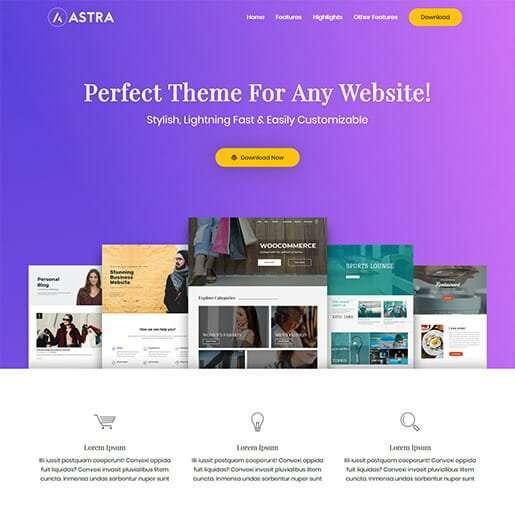 Astra tema WordPress gratuito